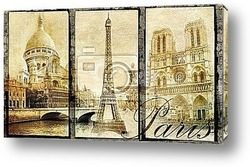 Постер Old Paris - vintage collage