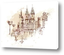 Постер Old Town Square, Prague, Czech Republic - a vector sketch