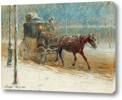 Зимний пейзаж с бульваром и запряженной лошадью