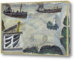 Постер Пароходы на входе в гавань