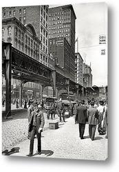 Постер Уобаш авеню и транспортный мост, 1907