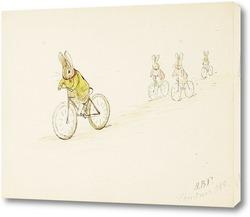 Картина Четыре маленьких кролика на велосипеде