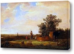 Картина Панорамный пейзаж с пастухами