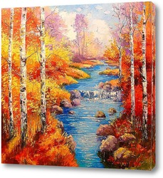 Картина Березы у ручья