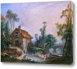 Картина Пейзаж с водяной мельницей