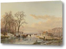 Голандский пейзаж с фигурами