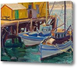 Картина Рыбацкие лодки в доке
