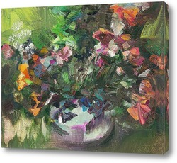 Картина букет цветов на круглом столе