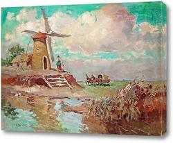 Постер Пейзаж с ветряной мельницей