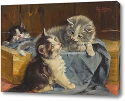 Картина Три котенка на голубом полотне