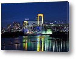 Постер Токио ночью Мост Радуга