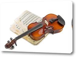 Постер Скрипка и старая нотная тетрадь