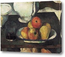 Постер Натюрморт с яблоками и стаканом с вином