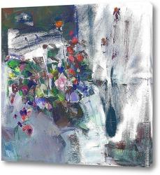 Картина цветы на окне