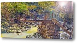 Постер Окрестность Сочи. Деревянный мостик через реку Агура