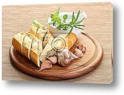Постер Garlic baguette with fresh herbs and butter