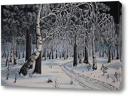 Картина Скользя по утреннему снегу.