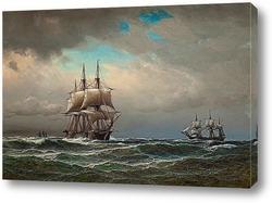 Постер Корабли в море