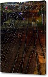 Постер Железная дорога в ночное время