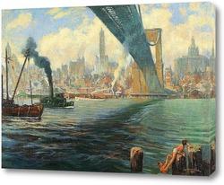 Постер Бруклинский Мост, Нью-Йорк