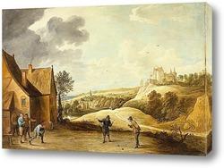 Пейзаж с крестьянами играющими в шары вне поместья