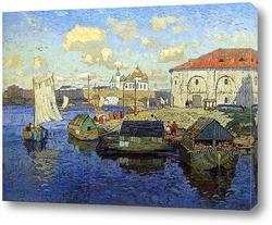 Картина Старый Новгород. Баржи