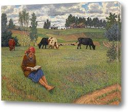 Постер Девочка читает на лугу