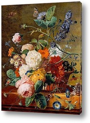 Картина Корзина с цветами и бабочками