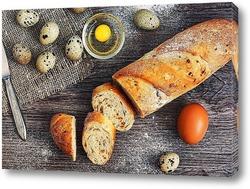 Постер Натюрморт с хлебом и перепелиными яйцами.