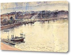 Картина Женева. Озера и молодежный мост, 1895