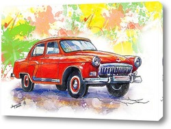 Постер красная старинная машина