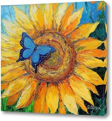 Картина Бабочка на подсолнухе