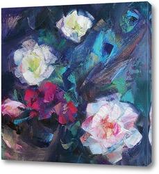 Картина цветы и перья павлина. этюд