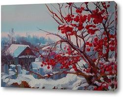 Картина Зимний пейзаж. Калина