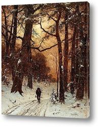 Зимний пейзаж в вечернем свете