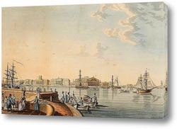 Постер «Вид на стрелку Васильевского острова с Дворцовой набережной»