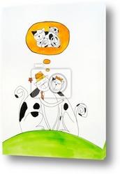 Три счастливых жирафы, детский рисунок, акварели
