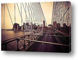 Постер Вид на финансовый центр с Бруклинского моста