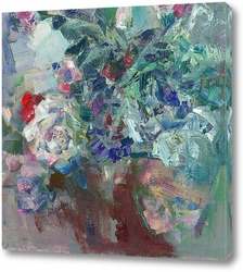 Картина этюд с розами