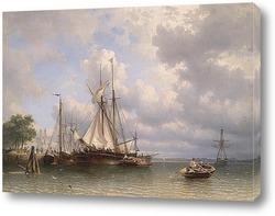 Картина Парусные суда в гавани