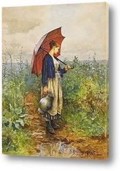 Женщина с зонтиком сбор воды