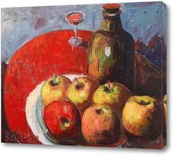 Постер Яблоки, вино и красная скатерть