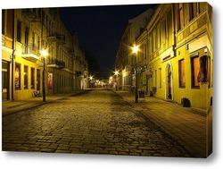 Постер Улица в ночное время в Каунасе