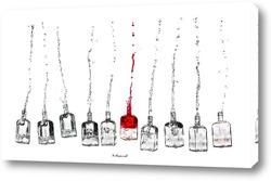 Постер Бутылки, из которых льются струи вина.