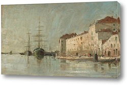 Сцена в гавани Венеции