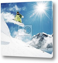 Постер Snowboarder at jump inhigh mountains
