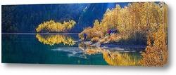 Постер Утренняя осенняя панорама озера Кардывач (при первых лучах)
