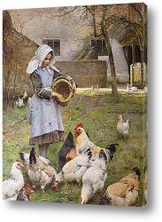 Картина Кормление кур