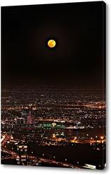 Постер Полнолуние, ночьной Дубай вид с самого высокого здания в мире Бурдж-Халифа
