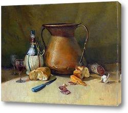 Натюрморт с бутылками и фруктами